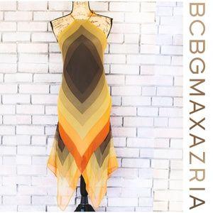 BCBGMaxAzria Silk Handkerchief Halter Ombre Dress